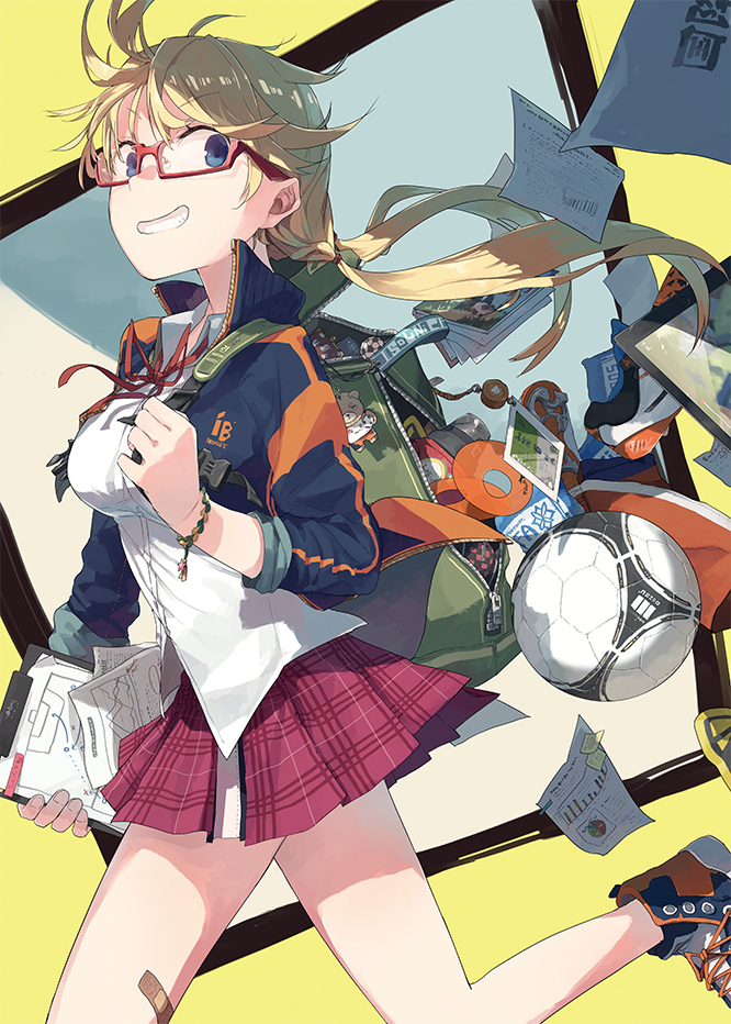 1girl backpack bag ball bandaid bandaid_on_leg bangs blonde_hair blue_eyes book breasts collar collared_jacket collared_shirt commentary_request fingernails floating_hair flying_paper from_side glasses green_backpack hair_between_eyes hitogome holding holding_paper holding_strap jacket legs light long_hair long_sleeves looking_away low_twintails multicolored multicolored_background multicolored_clothes multicolored_jacket neck_ribbon open_backpack open_mouth original paper pleated_skirt red-framed_eyewear red_neckwear red_ribbon red_skirt ribbon school_uniform shirt shoelaces shoes simple_background skirt sleeves_rolled_up smile sneakers soccer soccer_ball solo strap teeth track_jacket twintails uniform upper_body walking white_shirt wristwear zipper zipper_pull_tab