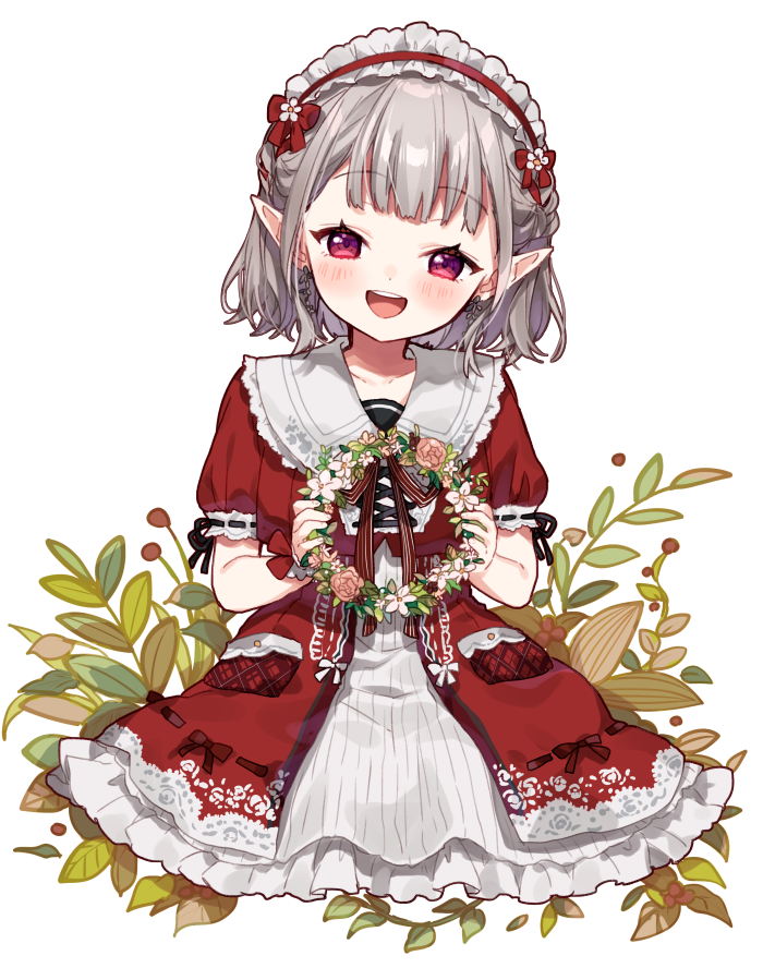 1girl :d bangs blush braid collared_dress commentary_request copyright_request dress eyebrows_visible_through_hair flower flower_wreath frilled_dress frilled_hairband frills grey_hair hairband holding open_mouth pink_flower pink_rose pointy_ears puffy_short_sleeves puffy_sleeves red_dress red_eyes red_hairband ribbon-trimmed_sleeves ribbon_trim rose round_teeth short_sleeves simple_background single_wrist_cuff smile solo teeth upper_teeth white_background white_flower wrist_cuffs yamabukiiro