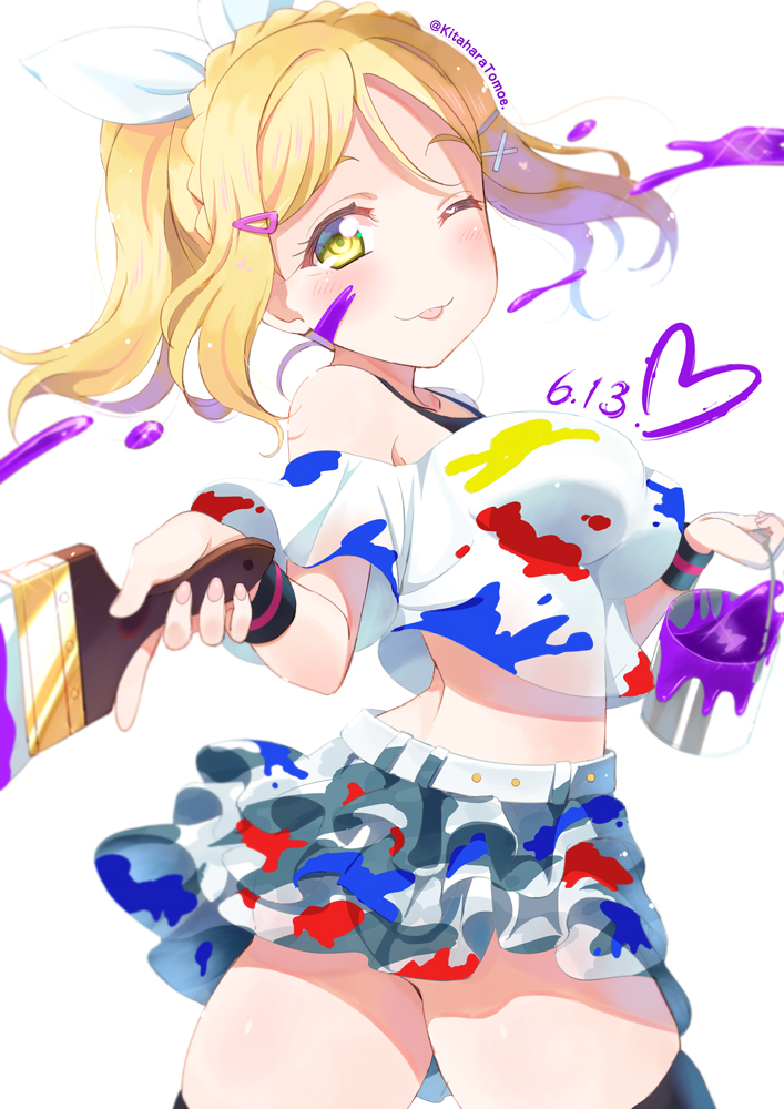 1girl alternate_hairstyle bangs birthday black_legwear blonde_hair braid breasts commentary_request crown_braid dated hair_ornament hair_ribbon heart kitahara_tomoe_(kitahara_koubou) large_breasts long_hair looking_at_viewer love_live! love_live!_sunshine!! miniskirt ohara_mari one_eye_closed paint paint_can paint_on_clothes paint_on_face paint_splatter paint_stains paintbrush ribbon sidelocks skirt solo thigh-highs tongue tongue_out twitter_username wristband yellow_eyes
