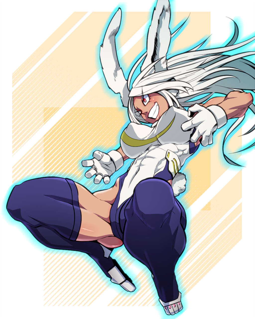 1girl animal_ears arms_up ass_visible_through_thighs bare_arms biceps boku_no_hero_academia breasts bunny_tail commentary_request covered_nipples crescent_print dark_skin floating_hair full_body fur_collar grin highleg highleg_leotard highres impossible_clothes impossible_leotard jin_(mugenjin) large_breasts leotard long_hair looking_afar midair mirko muscle muscular_female rabbit_ears rabbit_girl red_eyes smile solo spread_legs superhero tail teeth thick_thighs thigh_strap thighs v-shaped_eyebrows white_hair