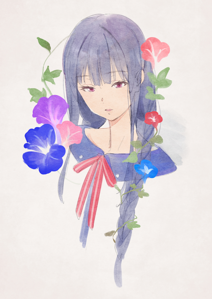 1girl bangs blue_hair blunt_bangs braid collarbone eyebrows_visible_through_hair floral_background flower hibike!_euphonium highres kamo_kamen liz_to_aoi_tori looking_down open_mouth red_neckwear ribbon side_braid simple_background solo traditional_media violet_eyes watercolor_(medium) yoroizuka_mizore