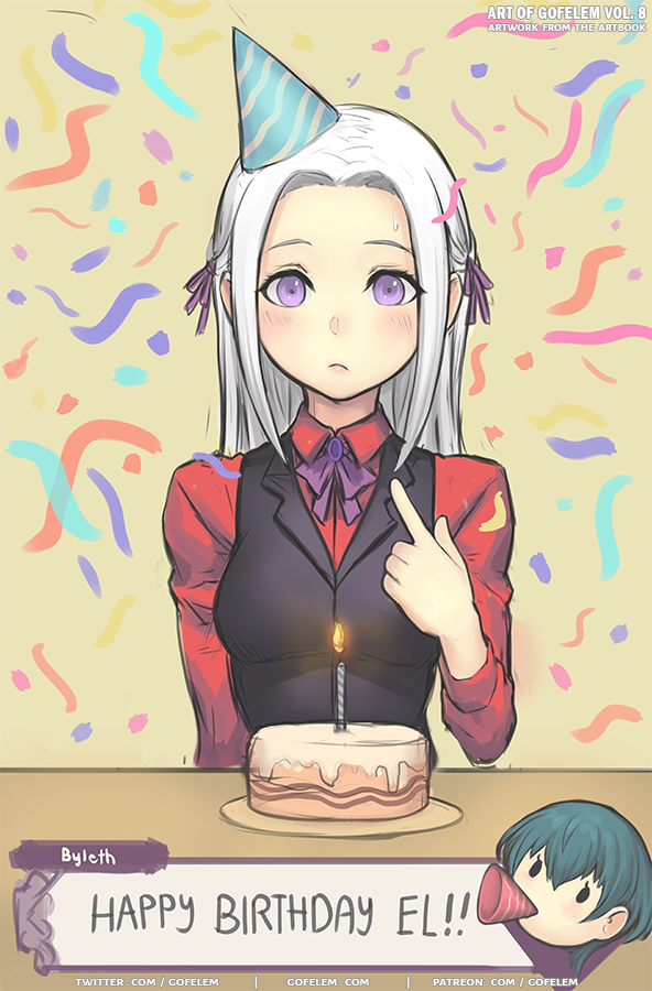 1girl alternate_costume black_vest byleth_(fire_emblem) cake candle closed_mouth edelgard_von_hresvelg english_text fire_emblem fire_emblem:_three_houses food hair_ribbon happy_birthday long_hair long_sleeves marfrey plate ribbon solo_focus table vest violet_eyes watermark web_address white_hair