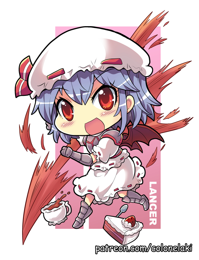 1girl armored_boots bat_wings blush_stickers boots chibi colonel_aki commentary_request cup english_text eyebrows_visible_through_hair food fruit gauntlets hat hat_ribbon holding holding_weapon lavender_hair looking_at_viewer mob_cap open_mouth puffy_short_sleeves puffy_sleeves red_eyes remilia_scarlet ribbon short_hair short_sleeves skirt smile solo spear_the_gungnir spilling spoon strawberry strawberry_shortcake teacup touhou weapon wings