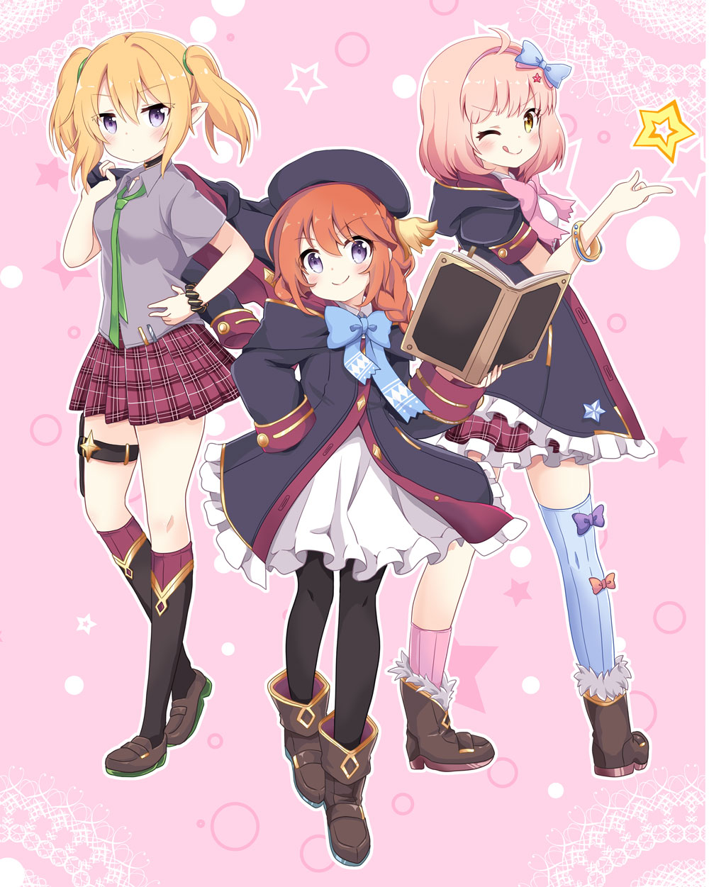 >:) 3girls ;q asymmetrical_legwear bangs beret black_coat black_headwear black_legwear black_scrunchie blonde_hair blue_legwear blush book boots braid breasts brown_eyes brown_footwear brown_hair chieru_(princess_connect!) chloe_(princess_connect!) closed_mouth coat collared_shirt commentary_request dress eyebrows_visible_through_hair grey_shirt hair_between_eyes hand_on_hip hand_up hat highres holding holding_book holding_jacket hood hood_down hooded_coat jacket jacket_over_shoulder kneehighs loafers long_hair long_sleeves massala multiple_girls one_eye_closed open_book pantyhose pink_background pink_hair pink_legwear plaid plaid_skirt pleated_skirt pointy_ears princess_connect! princess_connect!_re:dive red_skirt ribbed_legwear scrunchie shirt shoes short_sleeves single_sock single_thighhigh skirt sleeves_past_wrists small_breasts smile socks standing standing_on_one_leg star_(symbol) thigh-highs tongue tongue_out twin_braids twintails v-shaped_eyebrows violet_eyes white_dress wrist_scrunchie yuni_(princess_connect!)