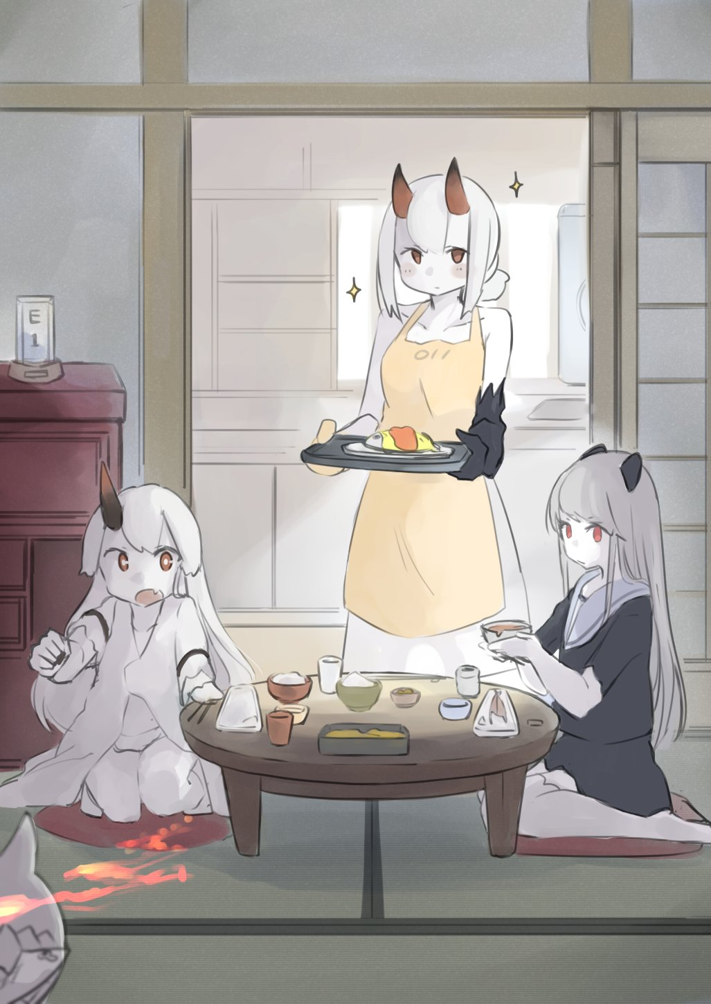3girls abyssal_chishima_hime apron blush bowl chopsticks cushion enemy_aircraft_(kantai_collection) escort_hime fang fang_out food hair_between_eyes highres holding holding_bowl holding_tray horns kantai_collection long_hair lycoris_fubuki ma_rukan multiple_girls open_mouth orange_apron orange_eyes red_eyes rice rice_bowl sailor_collar seiza shinkaisei-kan short_hair short_sleeves signature single_horn sitting skin_fang sparkle tatami tray white_hair white_sailor_collar white_skin zabuton