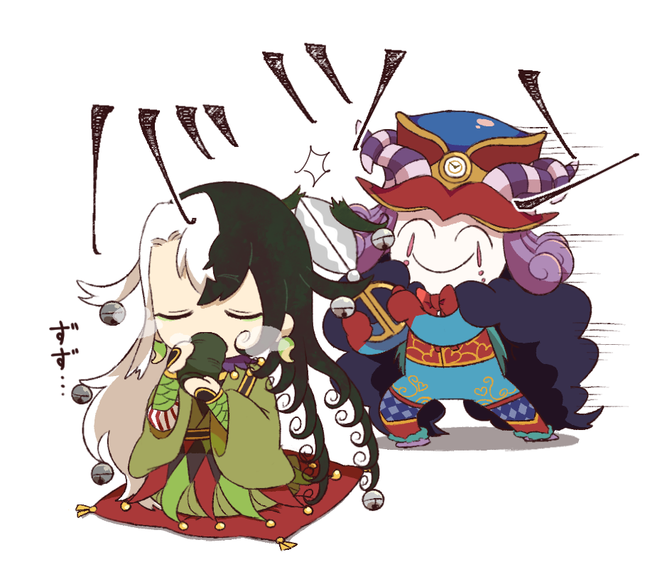 2boys ^_^ ^v^ argyle argyle_legwear ashiya_douman_(fate/grand_order) asymmetrical_clothes bell cape center_opening chibi closed_eyes clown commentary_request cup curly_hair cushion cutting_hair earrings eyelashes fate/grand_order fate_(series) fur-trimmed_cape fur_collar fur_trim green_eyeshadow hat headpiece horns jewelry jingle_bell long_hair magatama magatama_earrings makeup medium_hair mephistopheles_(fate/grand_order) motion_lines multiple_boys pantyhose pibacocoa purple_hair purple_neckwear ribbed_sleeves scissors shaded_face smile steam teardrop translation_request unzipped very_long_hair white_skin