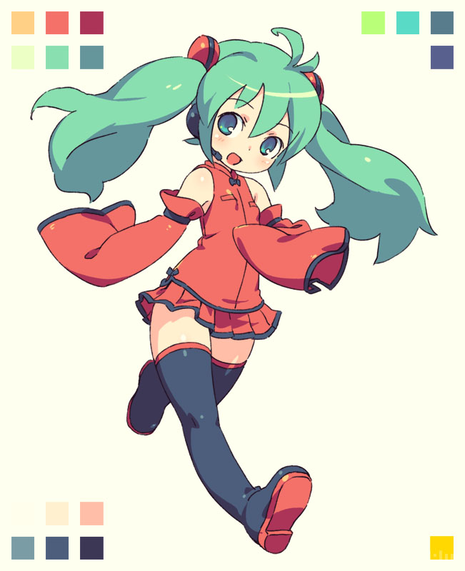 1girl :d antenna_hair aqua_eyes aqua_hair armlet bangs bare_shoulders bare_thighs big_hair black_bow black_footwear blush boots bow bowtie breasts color_guide commentary detached_sleeves disconnected_mouth dress_bow eyebrows_visible_through_hair full_body happy hatsune_miku headset looking_at_viewer microphone miniskirt om_(nk2007) open_mouth perky_breasts pleated_skirt raised_eyebrows red_shirt red_sleeves shiny shiny_footwear shiny_hair shiny_skin shirt sidelocks simple_background skirt sleeves_past_fingers sleeves_past_wrists small_breasts smile solo thigh-highs thigh_boots thighs twintails two-tone_boots two-tone_shirt vocaloid white_background wide_sleeves zettai_ryouiki