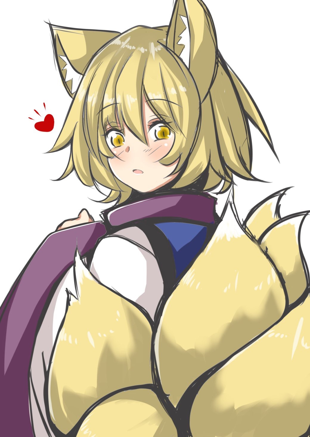 1girl animal_ear_fluff animal_ears blonde_hair blush eyebrows_visible_through_hair fox_ears fox_tail from_behind heart highres kitsune kyuubi looking_at_viewer looking_back multiple_tails no_hat no_headwear open_mouth simple_background slit_pupils solo sunaguma tail touhou wide_sleeves yakumo_ran yellow_eyes