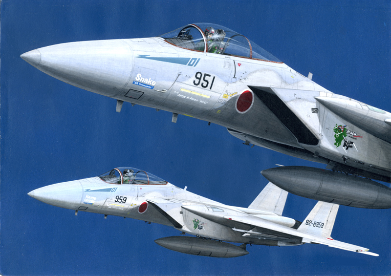 acrylic_paint_(medium) aircraft airplane f-15_eagle fighter_jet flying japan_air_self-defense_force japan_self-defense_force jet looking_at_viewer mick_(m.ishizuka) military military_vehicle missile pilot_helmet piloting traditional_media