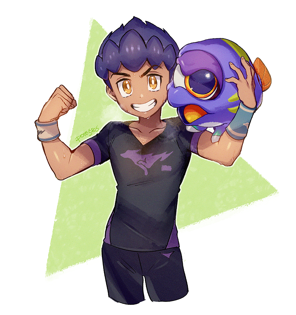 1boy black_shirt clenched_hand clenched_teeth collarbone commentary_request crossover dark_skin dark_skinned_male flexing hands_up holding hop_(pokemon) hoplin looking_at_viewer orange_eyes pokemon pokemon_(game) pokemon_swsh poroi_(poro586) pose purple_hair ring_fit_adventure shirt short_hair short_sleeves smile teeth two-tone_background v-shaped_eyebrows wristband