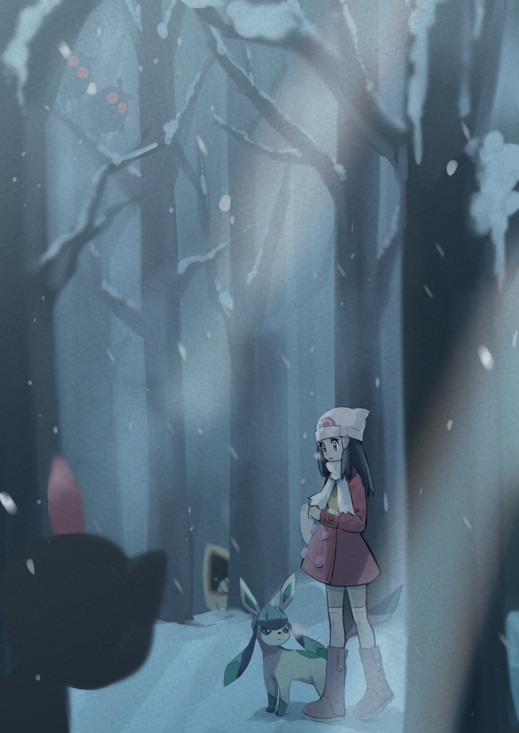 1girl bare_tree beanie boots buttons commentary_request gen_2_pokemon gen_3_pokemon gen_4_pokemon glaceon hair_ornament hairclip hat highres hikari_(pokemon) hoothoot long_hair long_sleeves outdoors pink_footwear pokemon pokemon_(creature) pokemon_(game) pokemon_dppt pokemon_platinum scarf sneasel snorunt snow snowing standing thigh-highs tree walking white_headwear white_legwear white_scarf winter winter_clothes yamabuki0