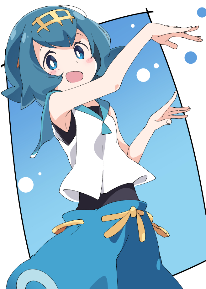 1girl blue_eyes blue_hair blush blush_stickers hairband ixy looking_at_viewer open_mouth pokemon pokemon_(game) pokemon_sm short_hair sleeveless smile solo suiren_(pokemon) swimsuit swimsuit_under_clothes