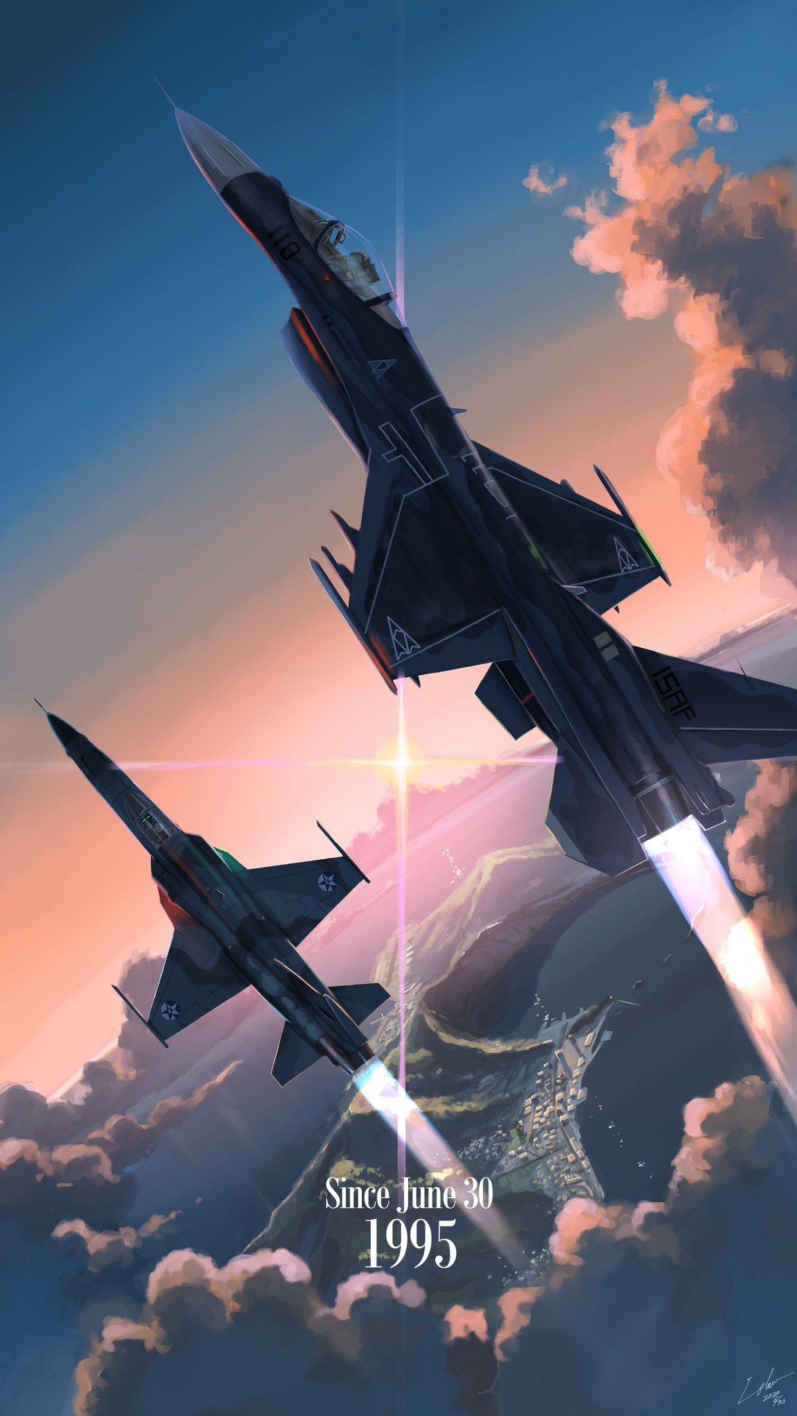 ace_combat ace_combat_04 ace_combat_5 afterburner aircraft airplane anniversary blaze_(ace_combat) city clouds crater emblem f-2 f-5_freedom_fighter fighter_jet highres isaf island jet md5_mismatch military military_vehicle mobius_1 resolution_mismatch source_larger sun sunset utachy