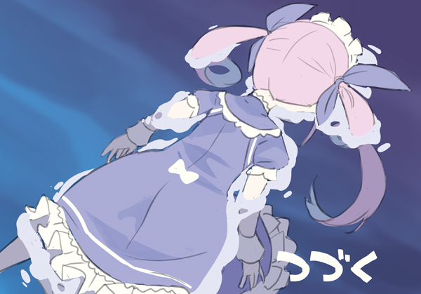 1girl afloat blade_(galaxist) blue_ribbon bow dress face_down frilled_dress frills gundam gundam_wing hair_ribbon hololive long_hair lying maid_headdress meme minato_aqua on_stomach parody partially_submerged puffy_short_sleeves puffy_sleeves purple_hair ribbon short_sleeves solo to_be_continued translated twintails virtual_youtuber water white_bow wrist_cuffs