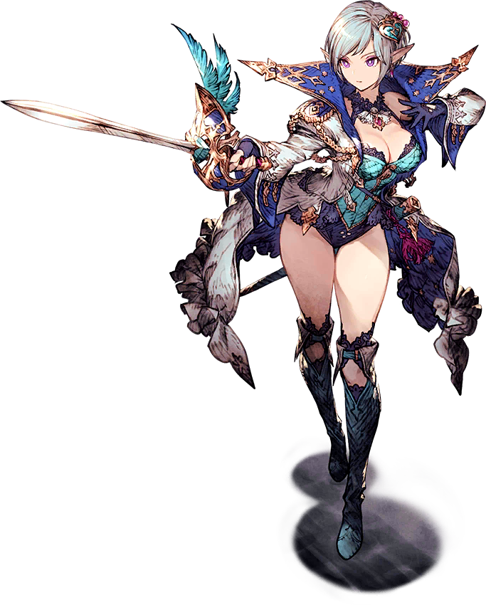 1girl breasts earrings elf final_fantasy_brave_exvius fingerless_gloves fryevia_(final_fantasy_brave_exvius) gloves hair_ornament jacket jewelry leotard medium_breasts official_art pointy_ears rapier sheath short_hair silver_hair stance sword thigh-highs transparent_background violet_eyes war_of_the_visions:_final_fantasy_brave_exvius weapon