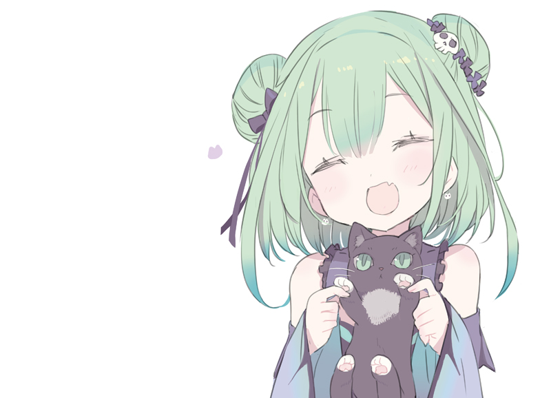 1girl :d ^_^ animal bangs black_cat blade_(galaxist) blue_dress blue_sleeves blush bow cat closed_eyes detached_sleeves double_bun dress eyebrows_visible_through_hair facing_viewer fang flower green_eyes green_hair hair_between_eyes hair_bow hair_flower hair_ornament hands_up holding holding_animal hololive long_hair long_sleeves open_mouth purple_bow purple_flower simple_background skull_hair_ornament sleeveless sleeveless_dress sleeves_past_wrists smile solo upper_body uruha_rushia virtual_youtuber white_background wide_sleeves