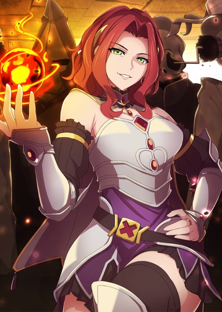 1girl armor armored_dress breasts cape choker cleavage curly_hair earrings evil_smile fantasy fire frills gauntlets green_eyes hairband hand_on_hip hand_up hips jewelry magic malty_s_melromarc playsuit ponytail redhead ring shoulder_cutout solo stockings tate_no_yuusha_no_nariagari thighs