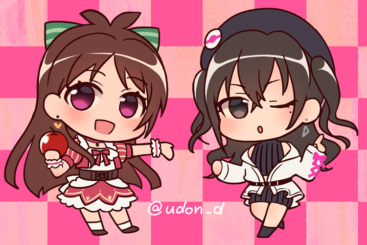2girls :o artist_name badge bangs bare_shoulders beret black_headwear bow brown_hair button_badge checkered checkered_background chibi choker coat commentary_request crop_top crossed_bangs disconnected_mouth doseki_udon dress dress_bow earrings eyebrows_visible_through_hair food frilled_cuffs frilled_dress frilled_skirt frills fruit green_bow hair_bow hat heart heart_earrings holding holding_food holding_fruit idolmaster idolmaster_cinderella_girls jewelry knit_skirt looking_at_viewer miniskirt mole mole_under_eye multicolored multicolored_background multicolored_hair multiple_girls no_pupils off_shoulder one_eye_closed outstretched_arm outstretched_hand pink_background pointing pointing_up puffy_short_sleeves puffy_sleeves red_bow red_choker ribbed_skirt ribbed_sweater shiny shiny_hair short_sleeves sidelocks simple_background skirt striped striped_bow sunazuka_akira sweater triangle_earrings tsujino_akari turtleneck turtleneck_sweater twitter_username two-tone_background two-tone_hair underbust v-shaped_eyebrows wrist_cuffs