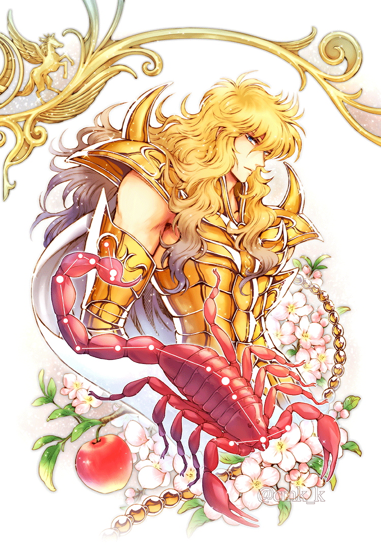 1boy apple armor blonde_hair blue_eyes branch cape commentary_request constellation cropped_torso food fruit gold_armor gold_saint gradient_hair hair_between_eyes kuori_chimaki leaf long_hair looking_at_viewer male_focus multicolored_hair pegasus saint_seiya saint_seiya_saintia_sho scorpio_milo scorpion simple_background solo sparkle twitter_username white_background white_cape
