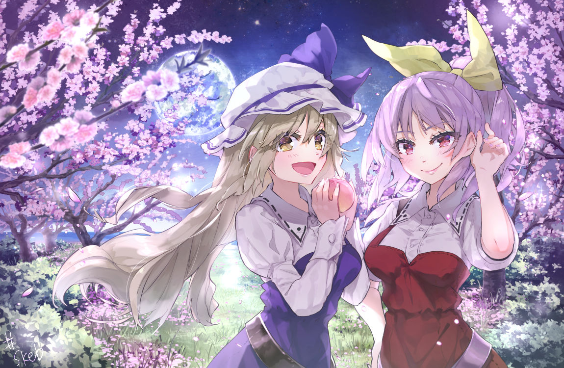 2girls :d bangs belt black_belt bow breasts brown_eyes cherry_blossoms commentary_request dress eyebrows_visible_through_hair food fruit grass grey_hair hair_between_eyes hair_ribbon hand_up hands_up hat hat_bow holding holding_food holding_fruit juliet_sleeves long_hair long_sleeves looking_at_viewer medium_breasts mob_cap multiple_girls night night_sky open_mouth outdoors peach pink_eyes puffy_sleeves purple_bow purple_dress purple_hair red_dress ribbon shirt short_sleeves siblings sisters sky smile syuri22 touhou upper_body very_long_hair watatsuki_no_toyohime watatsuki_no_yorihime white_headwear white_shirt yellow_ribbon