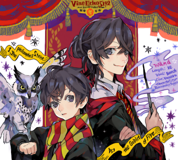 2boys :3 androgynous animal_on_arm bird bird_on_arm black_hair crossed_arms drawr dual_persona gryffindor half_updo harry_potter hogwarts_school_uniform holding holding_wand long_hair long_sleeves male_focus messy_hair multiple_boys necktie nishihara_isao older owl scarf school_uniform short_hair smile striped striped_scarf violet_eyes wand younger
