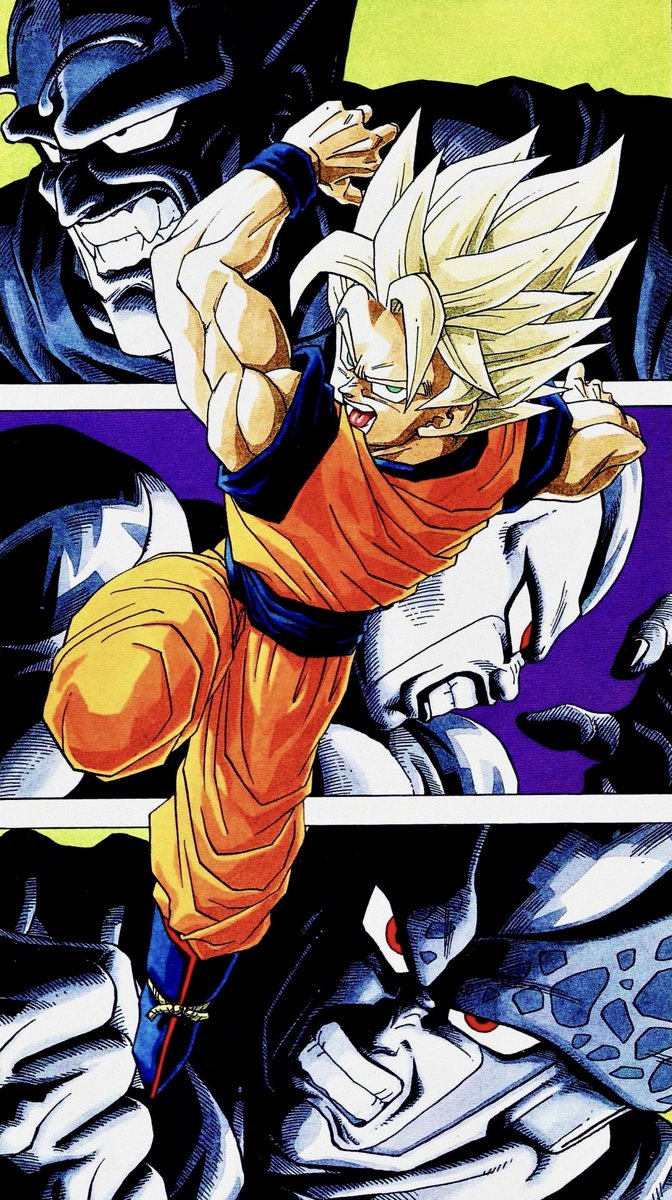 4boys angry antennae arms_up blonde_hair blue_footwear blue_theme boots cell_(dragon_ball) clenched_hand clenched_teeth dougi dragon_ball dragon_ball_(classic) dragon_ball_z fighting_stance fingernails floating frieza frown full_body green_background green_eyes hand_up highres leg_up looking_afar looking_at_viewer monochrome multiple_boys muscle official_art open_mouth paneled_background panels perfect_cell piccolo_daimaou pointy_ears profile red_eyes sharp_teeth son_gokuu spiky_hair super_saiyan teeth toriyama_akira wristband