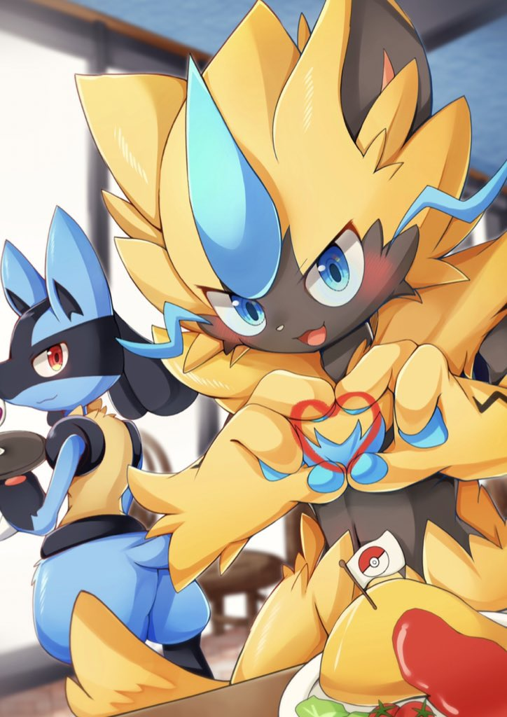 :3 :d animal_ear_fluff animal_ears animal_nose black_fur blue_eyes blue_fur blush commentary_request furry gen_4_pokemon gen_7_pokemon heart heart_hands holding holding_tray looking_at_viewer looking_to_the_side lucario mythical_pokemon nata_de_coco_(pankptomato) open_mouth pawpads pokemon pokemon_(creature) red_eyes smile standing tail tray whiskers yellow_fur zeraora