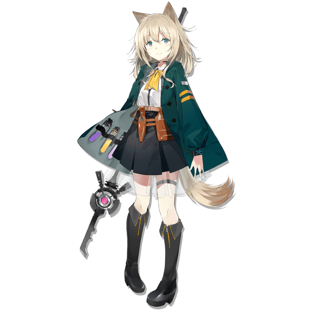 1girl animal_ears arknights artist_request belt black_footwear black_skirt blonde_hair boots dog_ears dog_tail full_body knee_boots long_sleeves looking_at_viewer medium_hair official_art pigeon-toed pleated_skirt podenco_(arknights) see-through skirt smile solo staff standing tachi-e tail test_tube thigh_strap transparent_background utility_belt