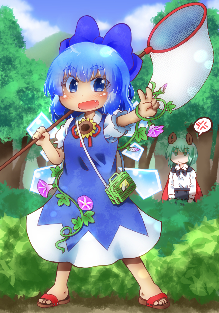 2girls :3 anger_vein antennae arms_at_sides arms_up black_shorts blue_dress blue_eyes blue_hair blue_sky blush butterfly_net cape cirno clouds commentary_request day dress eyebrows_visible_through_hair fang flower forest full_body green_hair hair_ribbon hand_net insect_cage jitome long_sleeves looking_at_another looking_at_viewer matty_(zuwzi) morning_glory mountain multiple_girls nature open_mouth outdoors outstretched_hand pinafore_dress puffy_short_sleeves puffy_sleeves ribbon sandals shirt short_hair short_sleeves shorts sky spoken_anger_vein standing sunflower tanned_cirno thick_eyebrows touhou two-tone_cape v white_shirt wings wriggle_nightbug