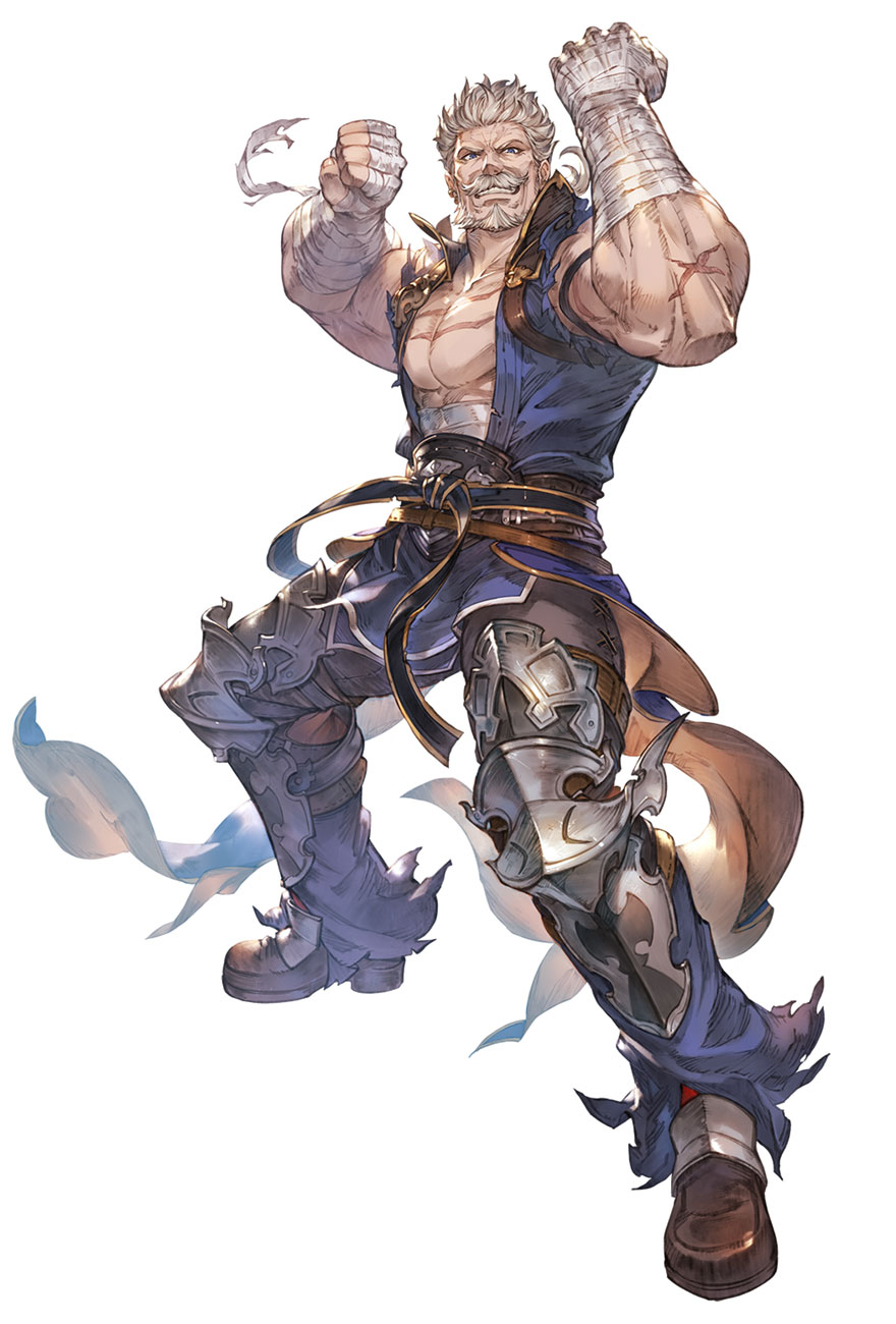 1boy armored_boots bandages beard blue_pants blue_vest boots chest clenched_hands facial_hair granblue_fantasy granblue_fantasy_versus grey_hair highres minaba_hideo muscle mustache official_art old_man pants scar short_hair smile soriz transparent_background vest