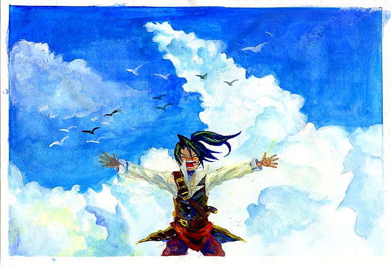 1boy animal arms_up belt belt_buckle bird black_hair blue_sky blush buckle closed_eyes clouds cloudy_sky flying gun long_hair male_focus n_sonota open_arms open_mouth outdoors pirate pirate_(sekaiju) ponytail sekaiju_no_meikyuu sky solo standing tongue traditional_media watercolor_(medium) weapon
