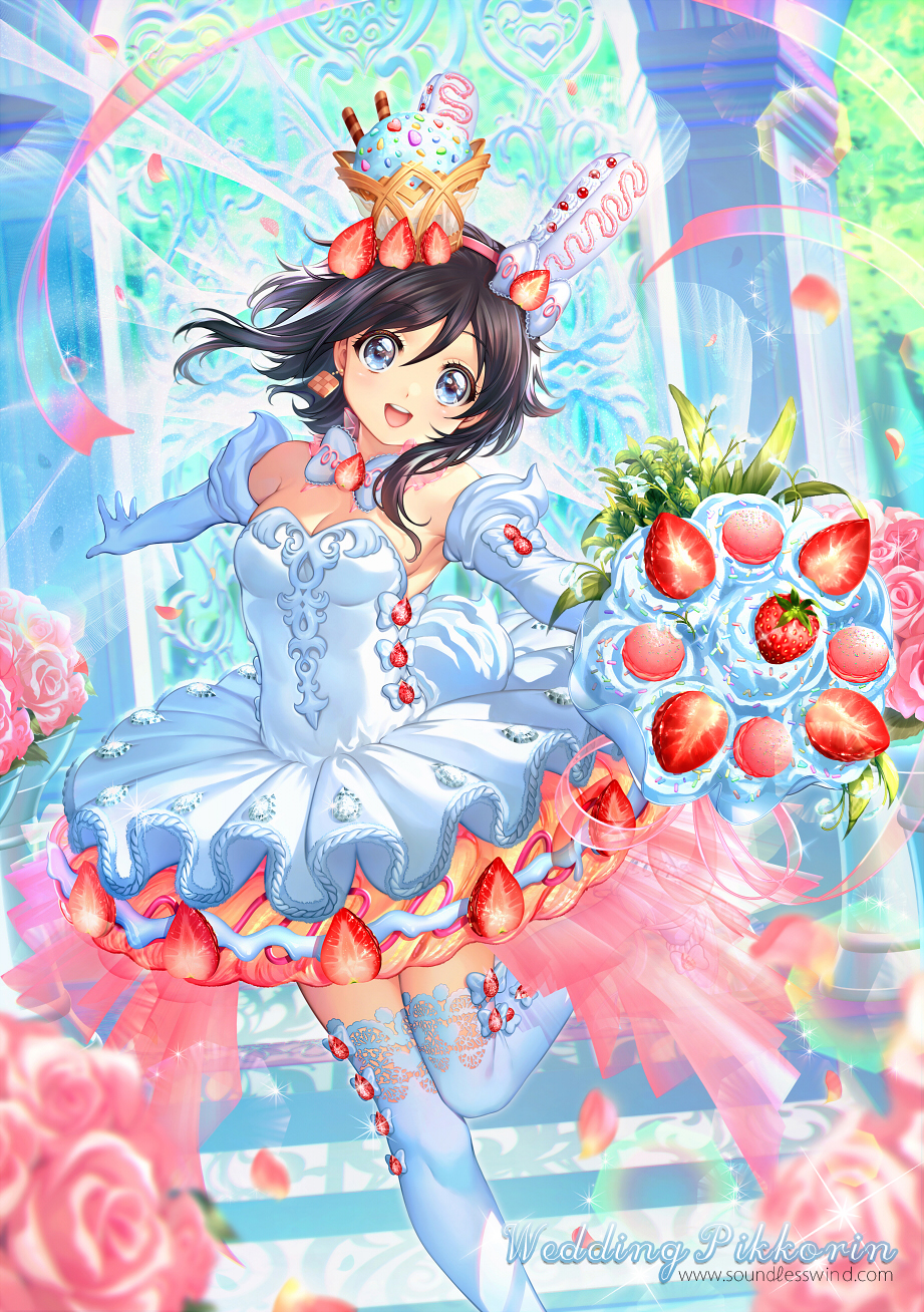 1girl :d armpits black_hair blue_eyes blurry bouquet bow bowtie breasts character_name collar depth_of_field dress earrings elbow_gloves eyebrows_visible_through_hair flower food food_themed_clothes food_themed_hair_ornament fruit gem glint gloves hair_ornament hairband highres holding holding_bouquet ice_cream jewelry kaze-hime leg_up lens_flare looking_at_viewer medium_hair open_mouth original outstretched_arms pikkorin_bunny_(kaze-hime) pink_flower pink_hairband pink_ribbon pink_rose ribbon rose small_breasts smile solo sprinkles standing standing_on_one_leg strapless strapless_dress strawberry thigh-highs tutu watermark web_address white_bow white_dress white_gloves white_legwear white_neckwear
