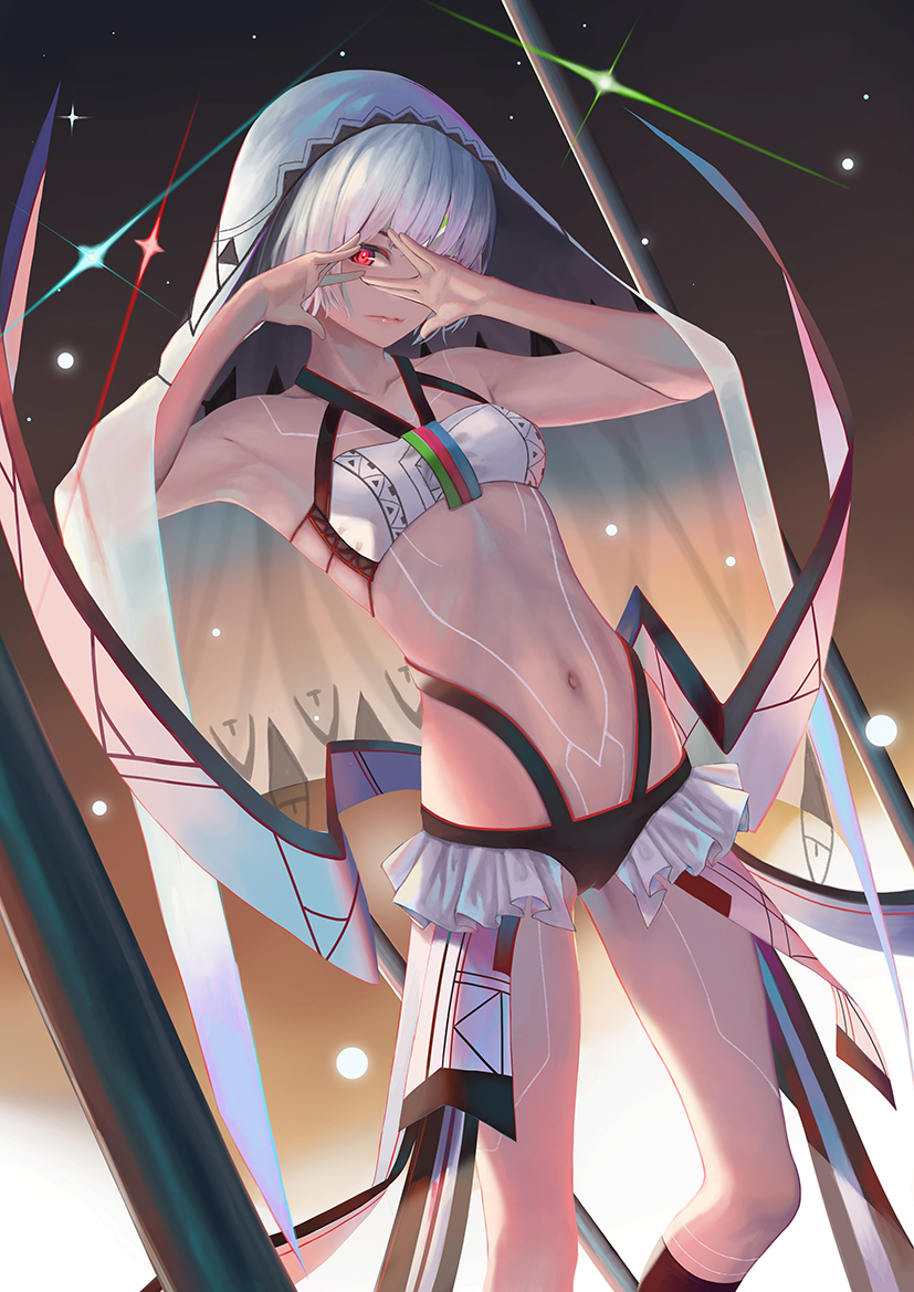 1girl altera_(fate) armpits black_panties bra closed_mouth collarbone fate/extella fate/extra fate_(series) kneehighs looking_at_viewer navel nekobell panties red_eyes red_legwear short_hair silver_hair solo underwear veil white_bra