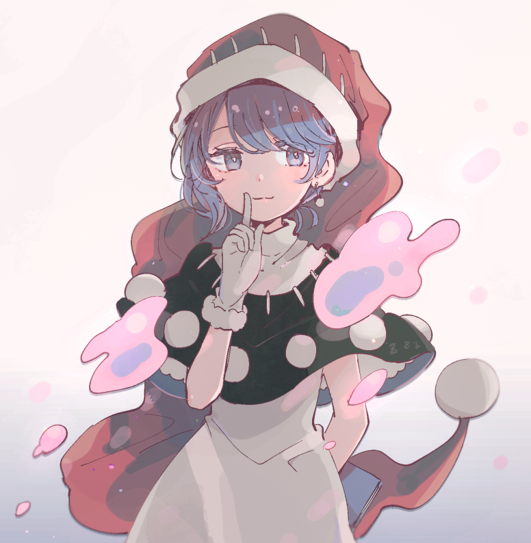 1girl arm_behind_back blue_eyes blue_hair book capelet commentary_request cowboy_shot doremy_sweet dream_soul dress earrings gloves gradient gradient_background hand_up hat holding holding_book index_finger_raised jewelry mozukuzu_(manukedori) nightcap pom_pom_(clothes) red_headwear short_hair solo touhou white_dress white_gloves