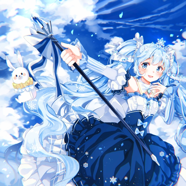 1girl amulet axiang_seika bare_shoulders blue_dress blue_sky chinese_commentary clouds commentary cowboy_shot crystal detached_sleeves dress framed_breasts frilled_dress frilled_sleeves frills hair_ornament hand_on_own_chest hatsune_miku holding_scepter layered_dress light_blue_eyes light_blue_hair long_hair looking_to_the_side neck_ruff open_mouth outstretched_arm puffy_sleeves rabbit rabbit_yukine scepter sky smile snowflake_print snowflakes striped_sleeves tiara twintails very_long_hair vocaloid yuki_miku yuki_miku_(2019)