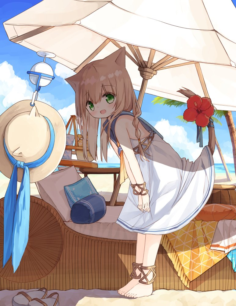 1girl :d animal_ears animal_hat bangs bare_shoulders barefoot beach_umbrella blue_sailor_collar blush braid brown_headwear cat_ears cat_girl cat_hat cat_tail commentary_request day dress drone eyebrows_visible_through_hair fake_animal_ears flower full_body green_eyes hair_between_eyes hat hat_removed headwear_removed kemonomimi_mode leaning_forward light_brown_hair long_hair looking_at_viewer looking_to_the_side ocean open_mouth original outdoors palm_tree pillow red_flower sailor_collar sailor_dress sandals sandals_removed sleeveless sleeveless_dress smile solo standing tail tail_flower tail_raised tree umbrella waka_(yuuhagi_(amaretto-no-natsu)) water white_dress white_footwear yuuhagi_(amaretto-no-natsu)