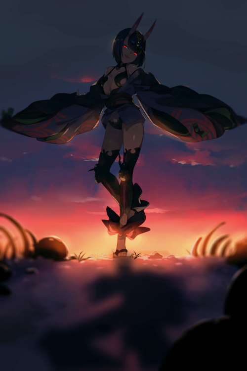 1girl ankle_ribbon bangs bare_shoulders barefoot_sandals bob_cut breasts cis05 collarbone eyeliner fate/grand_order fate_(series) glowing glowing_eyes gradient_sky headpiece horns japanese_clothes kimono legs long_sleeves looking_at_viewer makeup obi off_shoulder oni oni_horns open_mouth orange_sky purple_hair purple_kimono purple_sky red_eyes red_ribbon revealing_clothes ribbon ribs sash short_hair short_kimono shuten_douji_(fate/grand_order) skeleton skin-covered_horns skull sky small_breasts smile sunset twilight wide_sleeves