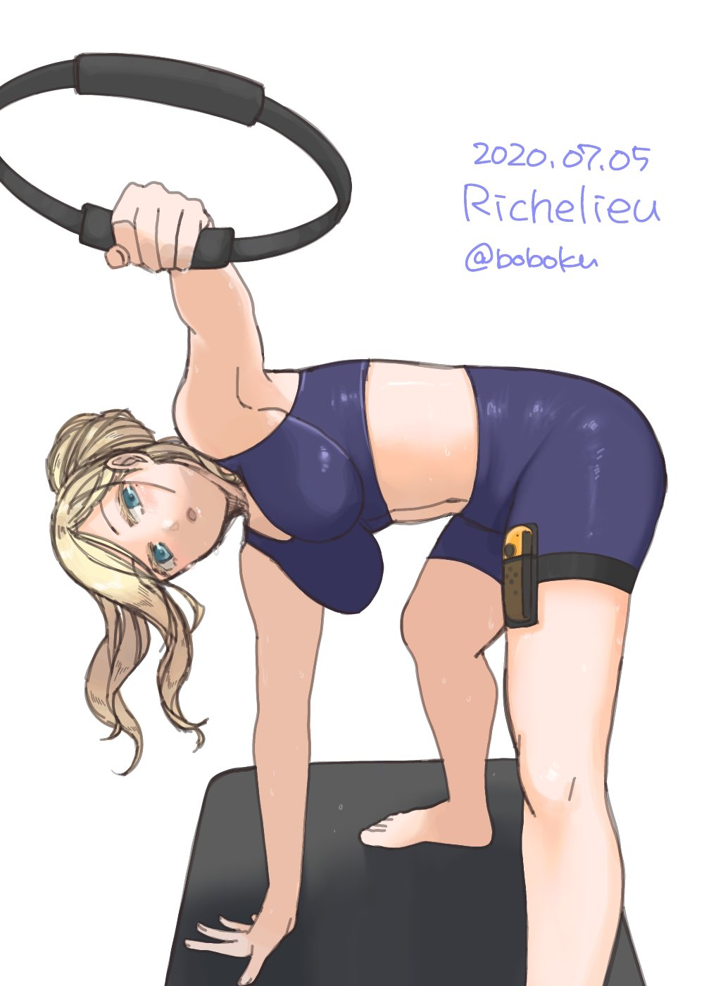 1girl alternate_costume alternate_hairstyle bike_shorts blonde_hair blue_eyes bobokuboboku character_name dated exercise hair_between_eyes highres kantai_collection long_hair looking_at_viewer mole mole_under_eye mole_under_mouth ponytail richelieu_(kantai_collection) ring-con ring_fit_adventure simple_background solo sports_bra twitter_username white_background yoga_mat