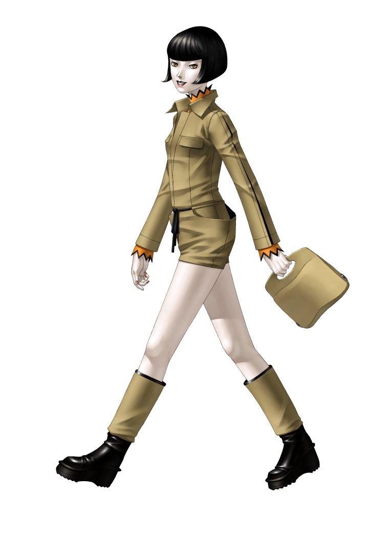 black_hair boots brown_eyes jacket kazuma_kaneko kirishima_eriko megami_ibunroku_persona official_art pale_skin persona persona_1 persona_2 short_hair shorts