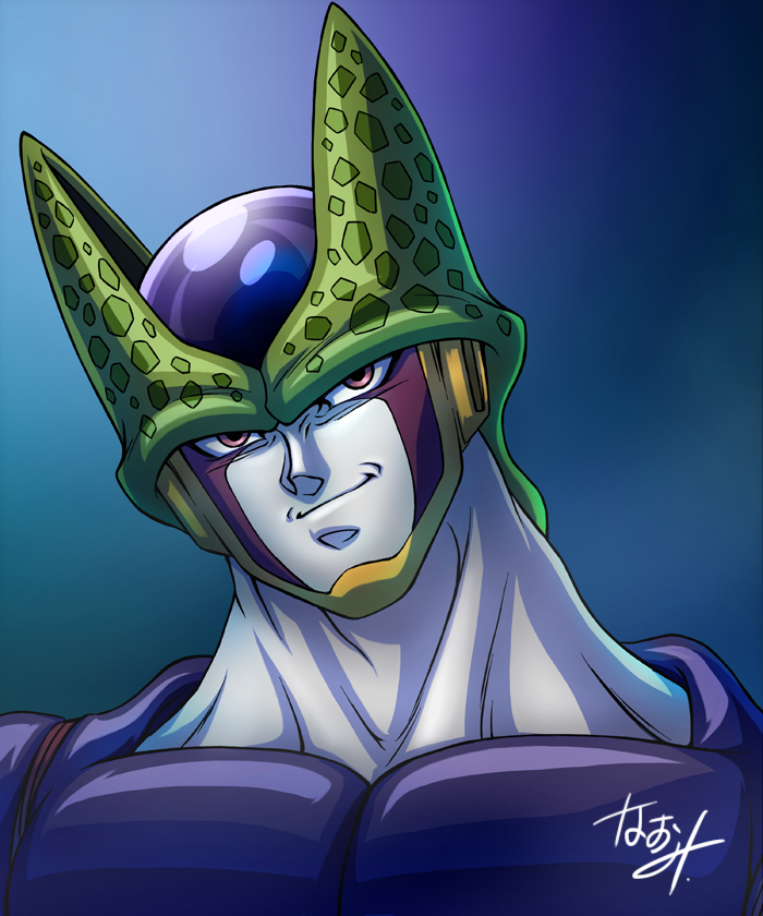 1boy blue_background cell_(dragon_ball) closed_mouth commentary_request dragon_ball dragon_ball_z head_tilt male_focus naomi_(nplusn) perfect_cell pink_eyes signature smirk smug solo upper_body
