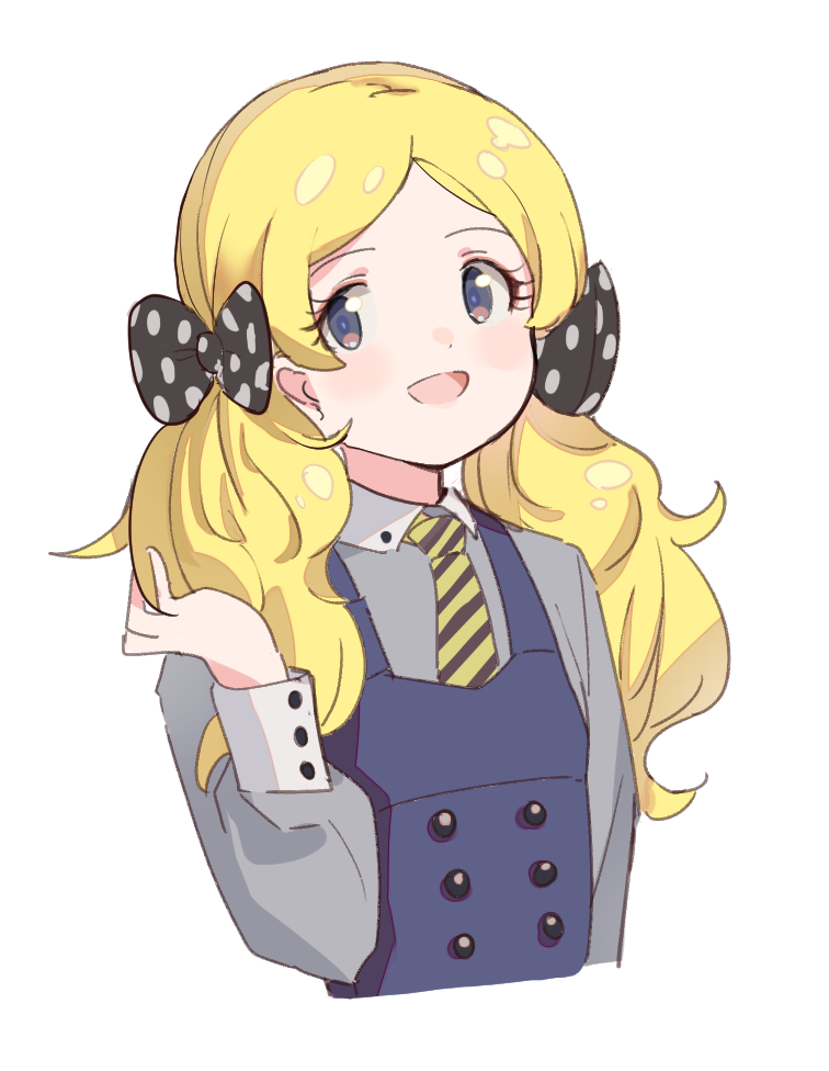 1girl :d bangs black_bow blonde_hair blue_dress blush bow collared_shirt cropped_torso diagonal-striped_neckwear diagonal_stripes dress grey_eyes grey_shirt hair_bow hand_up idolmaster idolmaster_million_live! long_sleeves necktie open_mouth parted_bangs polka_dot polka_dot_bow puffy_long_sleeves puffy_sleeves shirt simple_background sleeveless sleeveless_dress smile solo striped striped_neckwear suzuki_puramo twintails upper_body white_background