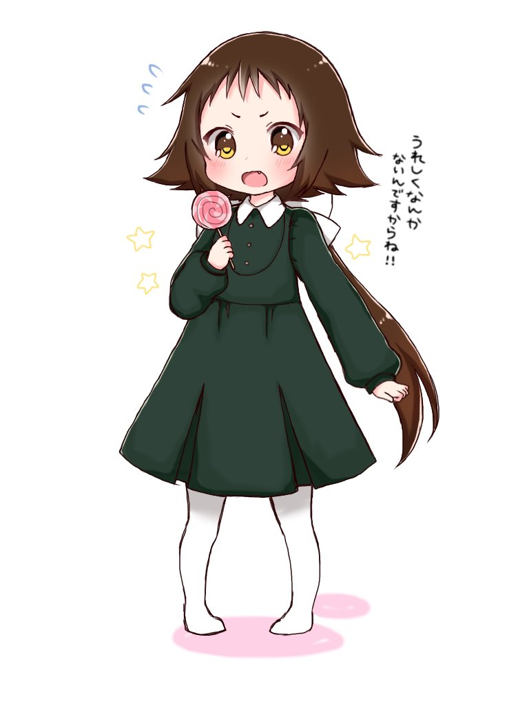 1girl blush bow brown_eyes brown_hair candy collared_dress colored_shadow dress fang flying_sweatdrops food forehead full_body green_dress hair_bow holding holding_food holding_lollipop lollipop long_sleeves low_ponytail mikakunin_de_shinkoukei mitsumine_mashiro no_shoes open_mouth pantyhose pigeon-toed pleated_dress ponytail puffy_long_sleeves puffy_sleeves shadow shika_(s1ka) sleeves_past_wrists solo standing star_(symbol) swirl_lollipop translation_request v-shaped_eyebrows white_background white_bow white_legwear