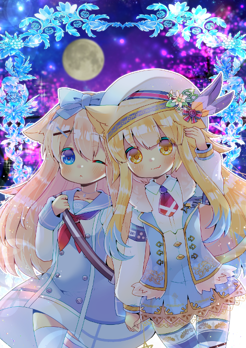 2girls ;o animal_ear_fluff animal_ears arm_up bangs beret blonde_hair blue_bow blue_dress blue_eyes blue_sailor_collar blue_skirt blue_vest blush borrowed_character bow brown_eyes cat_ears cat_girl cat_tail closed_mouth collared_shirt commentary_request commission dress eyebrows_visible_through_hair full_moon hair_between_eyes hair_bow hat high-waist_skirt holding_hands kouu_hiyoyo long_hair long_sleeves moon multiple_girls neckerchief necktie one_eye_closed original parted_lips puffy_long_sleeves puffy_sleeves red_neckwear sailor_collar sailor_dress shirt short_necktie skirt sleeves_past_wrists smile striped striped_legwear tail thigh-highs very_long_hair vest white_headwear white_legwear white_shirt