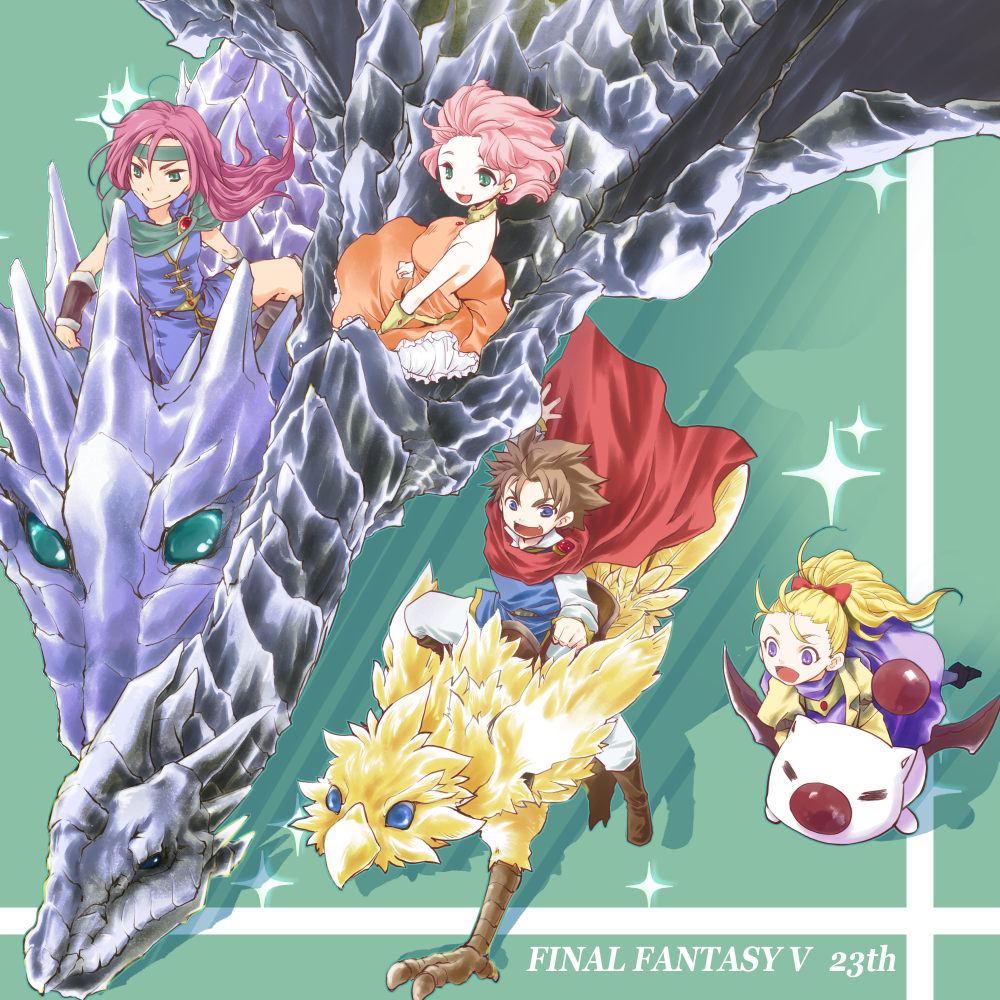 1boy 3girls anniversary bangs blonde_hair blue_eyes boco brown_hair butz_klauser cape chocobo choker dragon dress earrings faris_scherwiz final_fantasy final_fantasy_v grass green_eyes jewelry krile_mayer_baldesion lenna_charlotte_tycoon magnetic moogle multiple_girls necklace pink_hair ponytail purple_hair red_ribbon ribbon smile star_(symbol) syldra wings