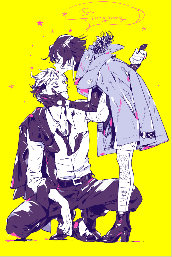 1boy 1girl amputee androgynous arm_sling bandages bandaid bandaid_on_cheek bandaid_on_face bandaid_on_knee bandaid_on_leg blood boots eyepatch forehead_kiss formal full_body fur-trimmed_hood fur_trim gloves hand_on_another's_face hetero high_heel_boots high_heels holding holding_knife holding_weapon hood hood_down hooded_jacket injury jacket jacket_over_shoulder kiss knife loose_necktie missing_limb monochrome multicolored_hair necktie nishihara_isao original pink_blood short_hair shorts smile spot_color squatting stump_cover suit turtleneck two-tone_hair weapon