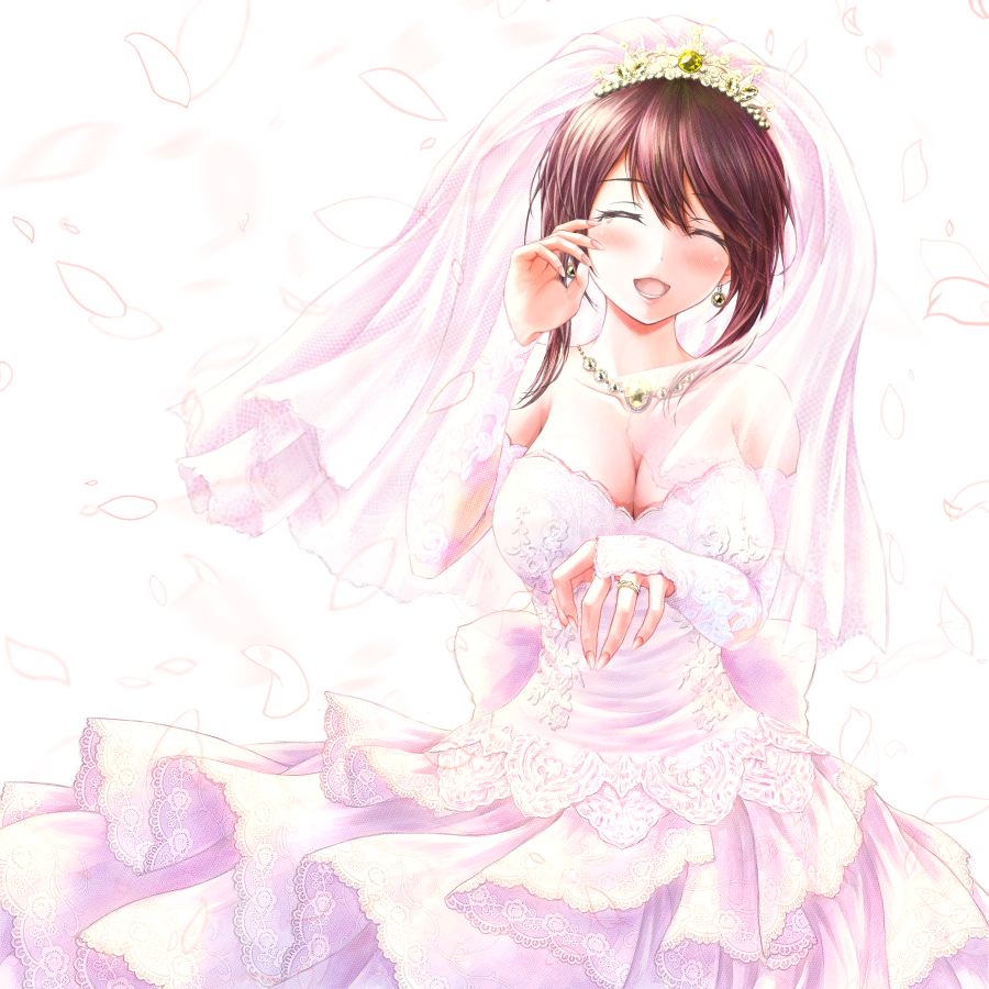 1girl :d amderxamder blush breasts bridal_veil bride brown_hair closed_eyes collarbone date_a_live detached_sleeves diadem dress earrings facing_viewer jewelry large_breasts layered_dress long_dress long_sleeves necklace open_mouth ring shiny shiny_hair short_hair_with_long_locks sidelocks simple_background sleeveless sleeveless_dress smile solo standing strapless strapless_dress tears tokisaki_kurumi veil wedding_dress wedding_ring white_background white_dress white_sleeves