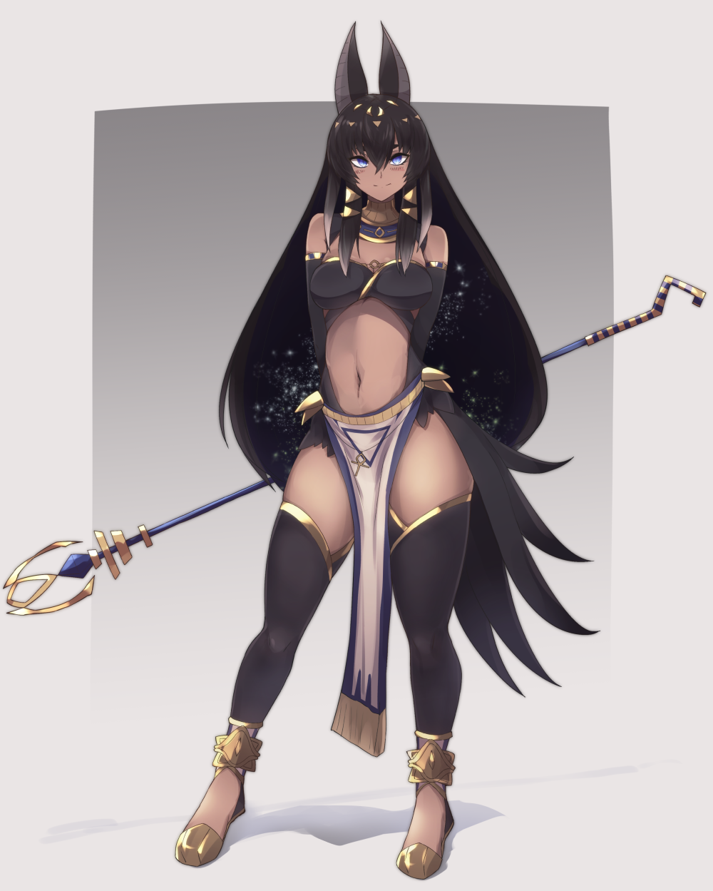 1girl alder animal_ears anubis arms_behind_back bangs black_hair black_legwear blue_eyes commentary dark_skin egyptian egyptian_mythology full_body hair_between_eyes highres jackal_ears jewelry long_hair looking_at_viewer navel original pelvic_curtain simple_background smile solo staff standing thigh-highs very_long_hair