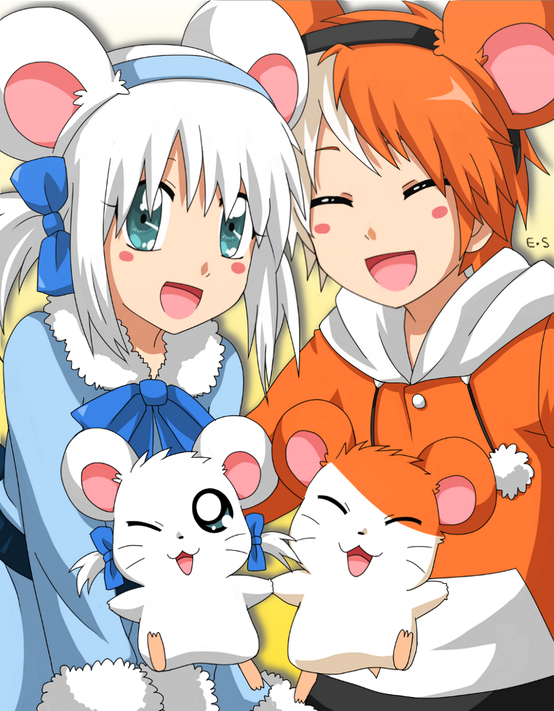 1boy 1girl 2others animal animal_ears artist_name bijou blue_eyes blush blush_stickers coat couple cute endless-rainfall female gijinka hamster hamster_ears hamtaro hamtaro_(hamtaro) holding_hands hoodie looking_at_viewer male mammal open_mouth orange_hair personification ribbon rodent shogakukan smile tms_entertainment twintails white_hair wink