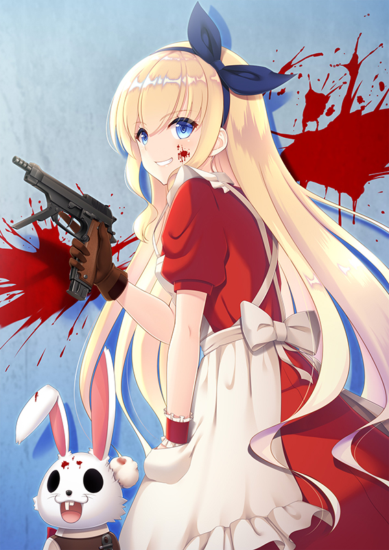 1girl alice_(wonderland) alice_in_wonderland animal apron bangs beretta_93r blonde_hair blood blood_on_face blood_splatter blue_eyes blue_hairband blue_ribbon bow brown_gloves commentary_request dress eyebrows_visible_through_hair frilled_apron frills gloves grin gun hair_between_eyes hair_ribbon hairband handgun holding holding_gun holding_weapon long_hair maid_apron mijinko_(rioriorio) pistol puffy_short_sleeves puffy_sleeves rabbit red_dress ribbon short_sleeves single_glove single_wrist_cuff smile solo very_long_hair weapon white_apron white_bow wrist_cuffs