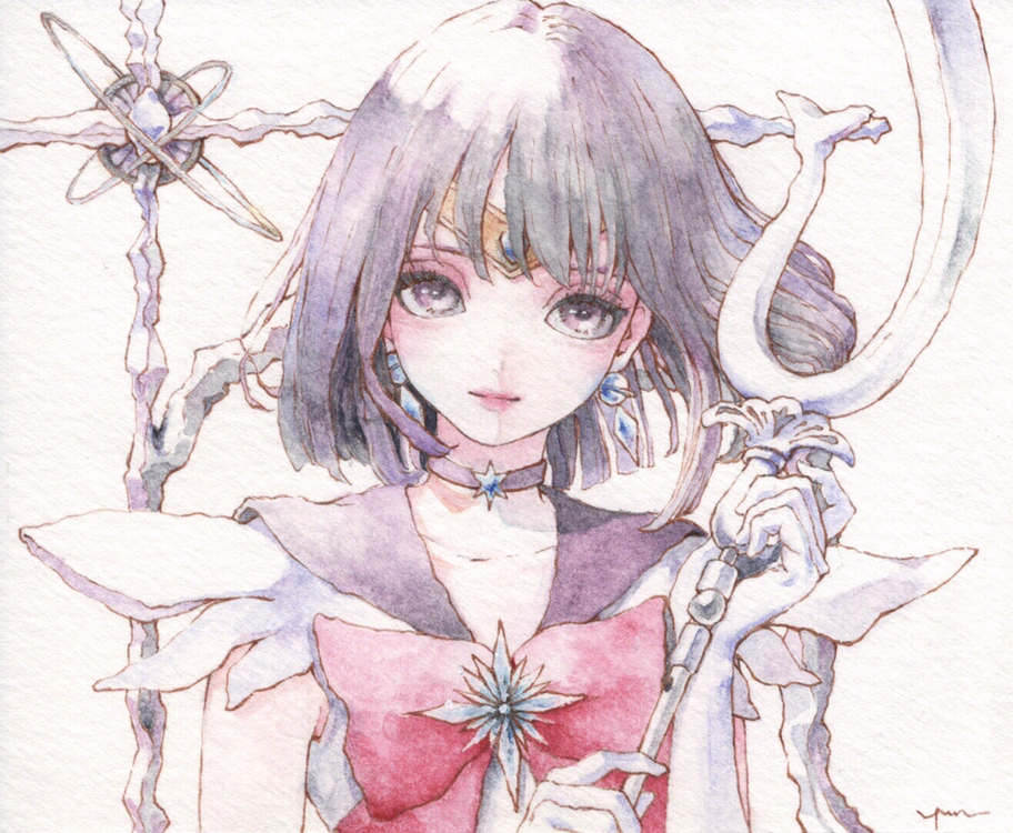 12yun30 1girl bangs bishoujo_senshi_sailor_moon bow bowtie choker commentary commentary_request earrings elbow_gloves gloves head_tilt holding jewelry large_bow looking_at_viewer pink_bow pink_lips pink_neckwear purple_choker purple_hair purple_sailor_collar sailor_collar sailor_saturn short_hair signature silence_glaive smile solo star_(symbol) star_choker traditional_media violet_eyes watercolor_(medium) white_background white_gloves